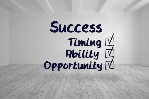 Lista de verificação de sucesso escrita em quarto luminoso