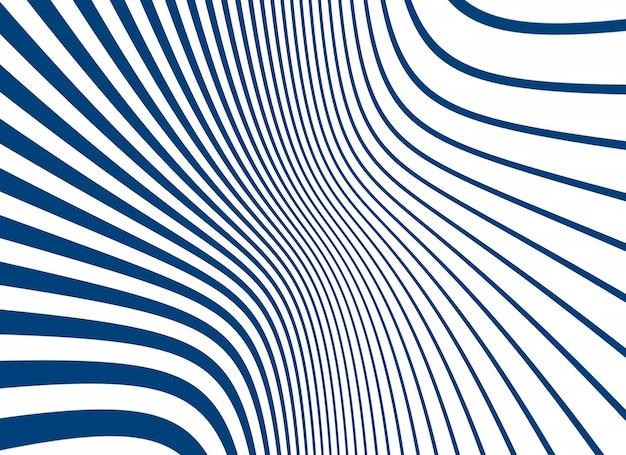 Listras de linhas curvas simples em azul e branco