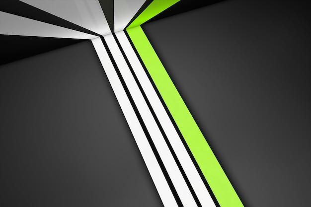 Listras retas brancas e verdes em cinza