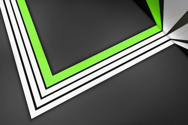 Listras retas brancas e verdes em um cinza