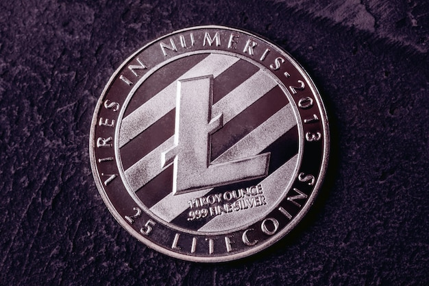 Litecoin close-up em