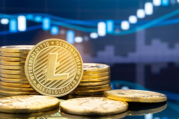 Litecoin e cryptocurrency conceito de investimento.
