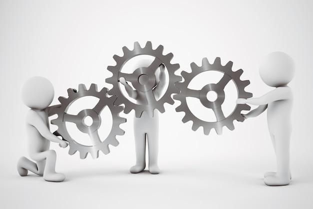 Little com homens trabalham juntos para construir um mecanismo de engrenagem
