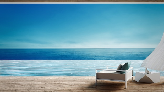 Living beach lounge - oceano villa em vista mar para férias e verão / 3d render interior