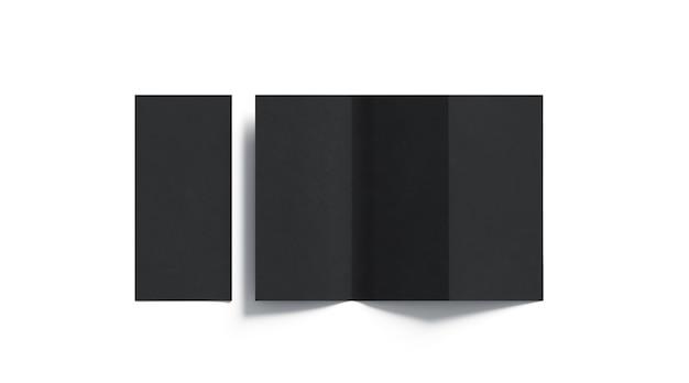 Livreto com três dobras preto em branco, aberto e fechado, vista superior
