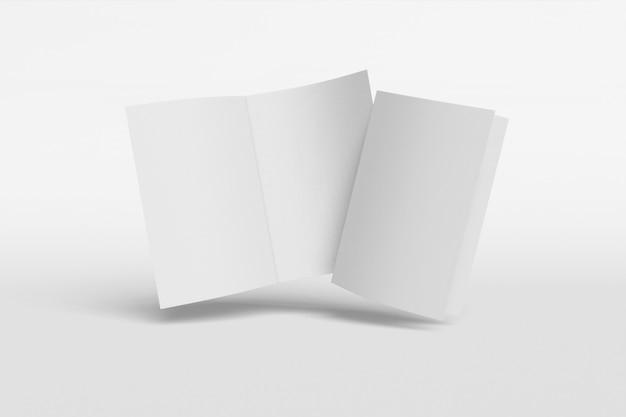 Livreto vertical de duas maquete, brochura, convite isolado em um fundo branco com capa mole e sombra realista. renderização em 3d.