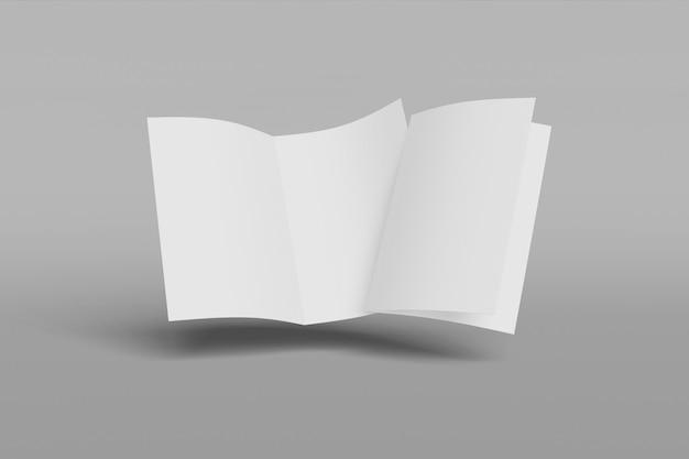 Livreto vertical de duas maquete, brochura, convite isolado em um fundo cinza com capa mole e sombra realista. renderização em 3d.