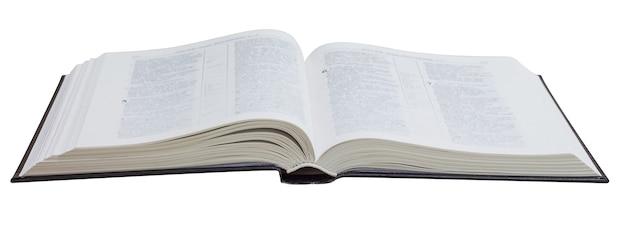 Livro aberto, bíblia, em um branco isolado