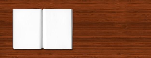 Livro aberto isolado em um fundo escuro de banner de madeira