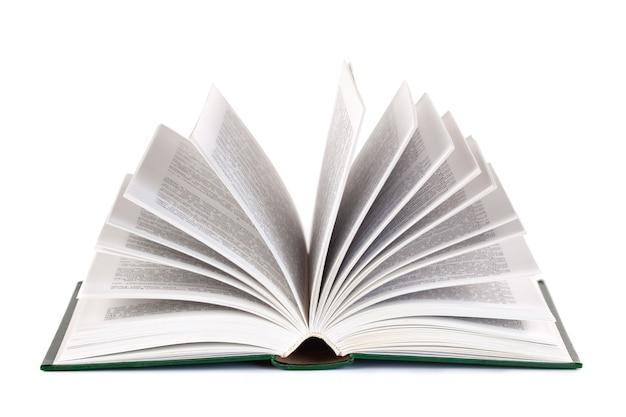 Livro aberto isolado no branco, educação