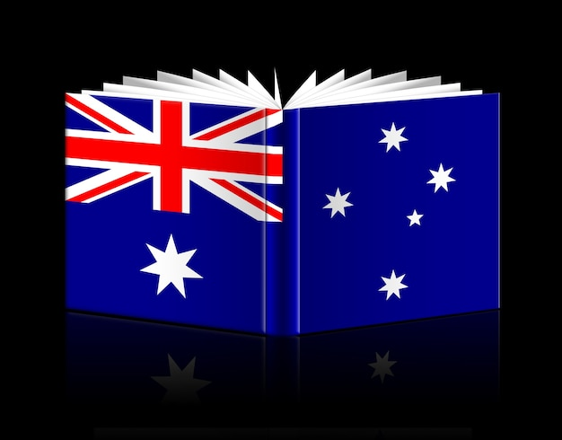 Livro aberto isolado representando a bandeira da austrália