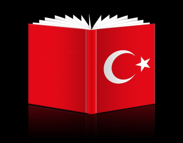 Livro aberto isolado representando a bandeira da turquia