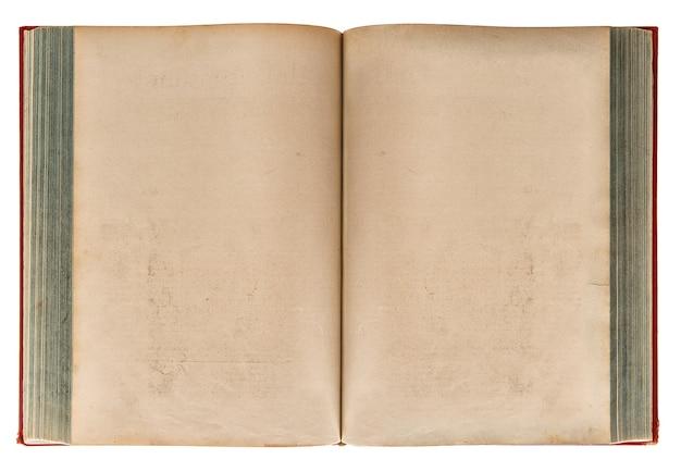 Livro antigo aberto isolado no fundo branco. textura de papel envelhecida