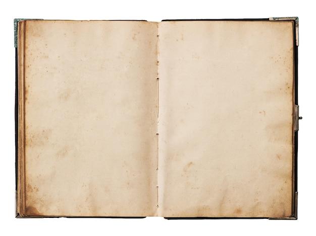 Livro antigo aberto isolado no fundo branco. textura de papel usada