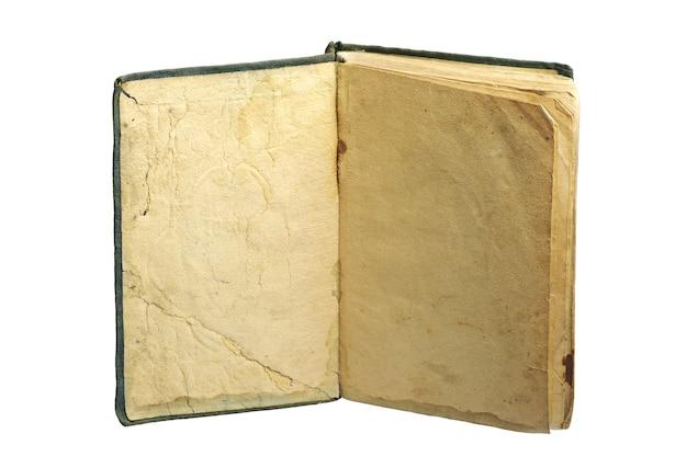 Livro antigo com páginas amarelas em branco isoladas no branco