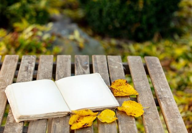 Livro antigo sobre uma mesa no jardim no outono