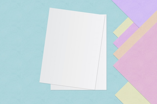 Livro branco e espaço para texto em fundo de cor pastel, conceito mínimo