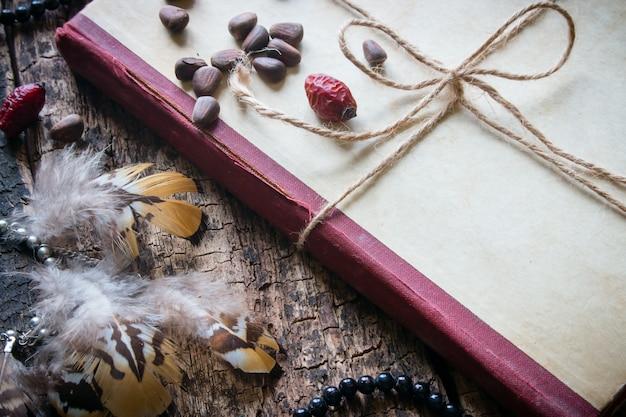 Livro com fio com miçangas, rosa brava, pinhões e brincos com close-up de penas