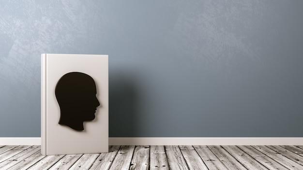 Livro com formato de cabeça humana no piso de madeira contra a parede