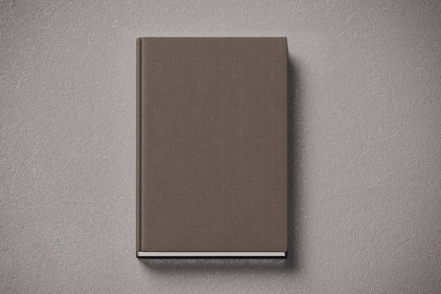 Livro de capa dura de tecido marrom em branco simulado, frente