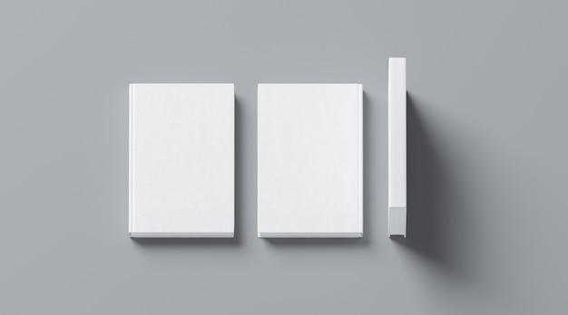 Livro de capa dura tecido branco em branco simulado acima, frente, coluna