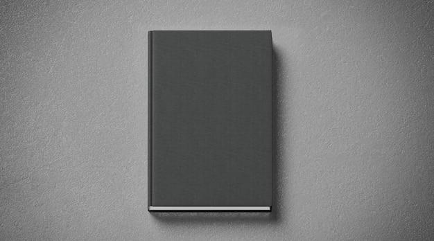 Livro de capa dura tecido preto em branco, vista frontal