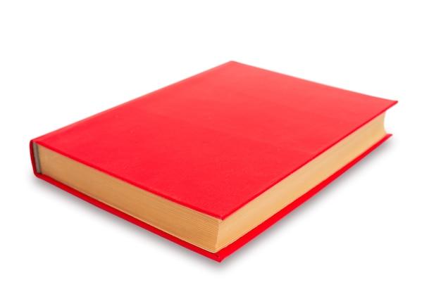Livro de capa vermelha em fundo branco. livro de papel velho