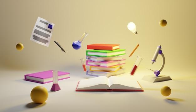 Livro de ciências e ilustração de equipamentos design 3d