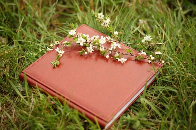 Livro de fotos na grama