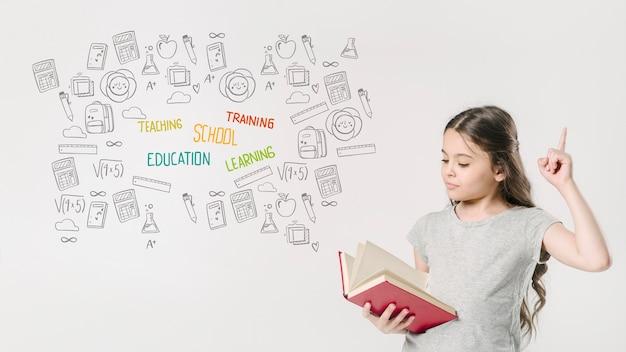 Livro de leitura de garota de tiro médio