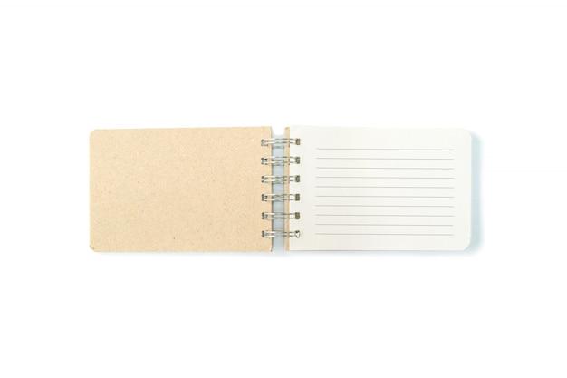 Livro de nota marrom closeup com linha isolado no fundo branco
