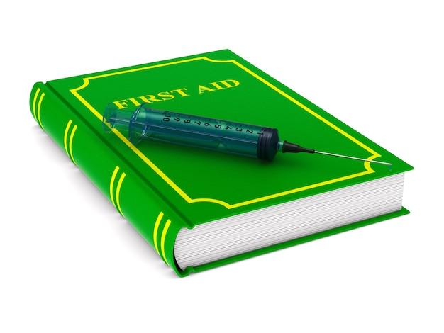 Livro de primeiros socorros. isolado, renderização 3d