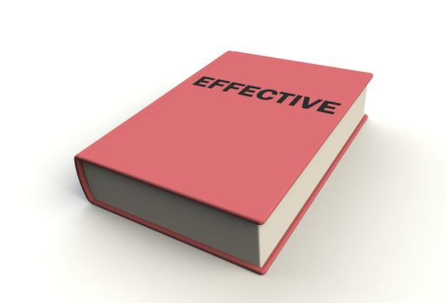 Livro eficaz no fundo branco, rendição 3d