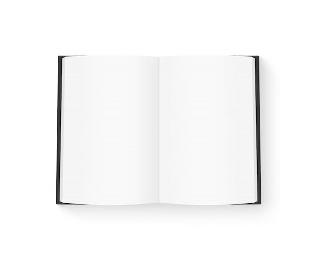 Livro em branco aberto com capa preta mock-se isolado no branco