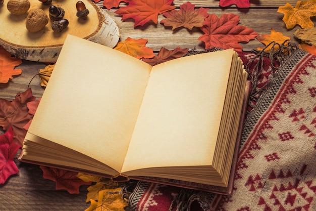 Livro em branco perto de nozes e cobertor em folhas