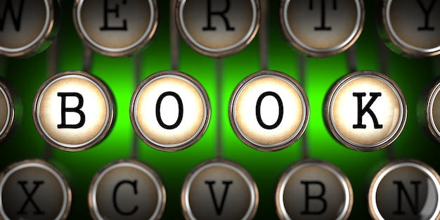 Livro sobre as chaves da velha máquina de escrever no verde.
