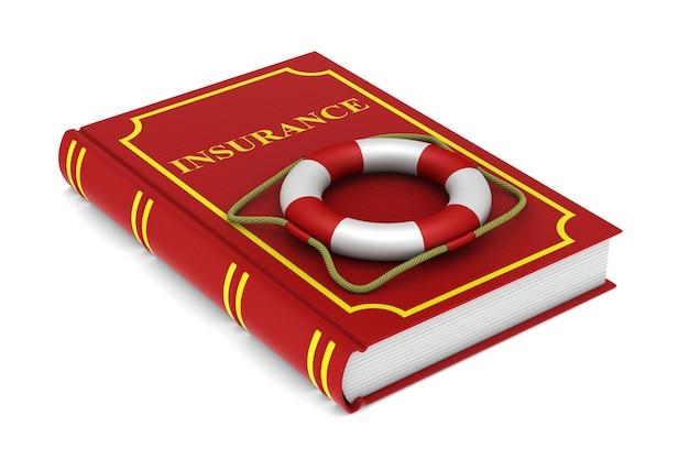 Livro vermelho e bóia salva-vidas no espaço em branco. ilustração 3d isolada
