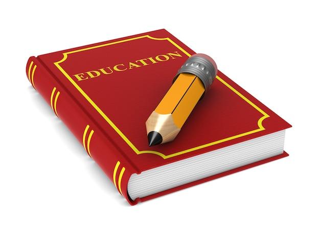 Livro vermelho fechado e lápis de madeira no espaço em branco. ilustração 3d isolada