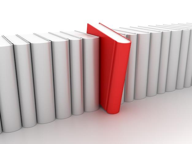 Livro vermelho na linha de livros brancos