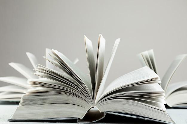 Livros abertos de vista frontal com fundo cinza