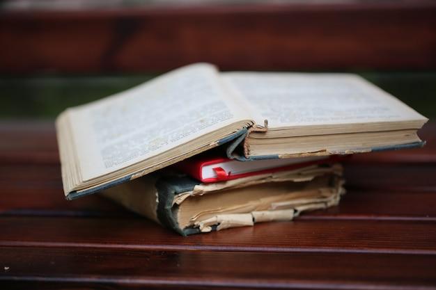Livros antigos banco lendo estudo retrô ao ar livre