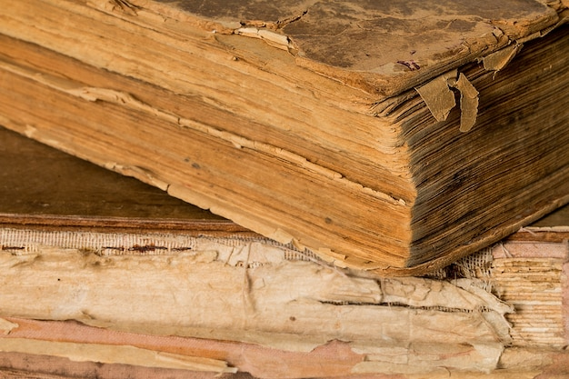 Livros antigos mostrando o envelhecimento das páginas.