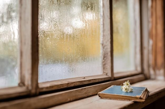 Livros antigos na janela molhada de madeira da vila