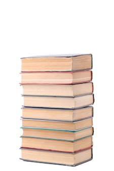 Livros antigos vintage, isolados no fundo branco