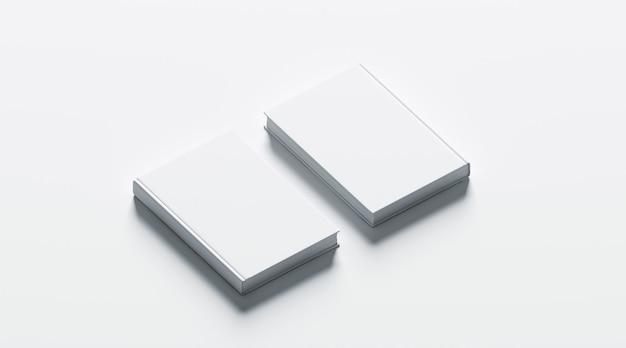 Livros de capa dura brancos em branco simulado acima