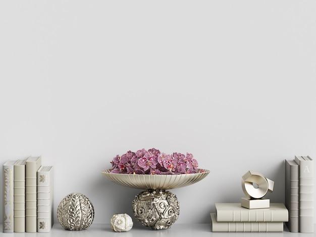 Livros e vasos de maquete em renderização 3d interior