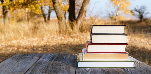 Livros em uma pilha sobre uma mesa de madeira em um parque de outono.