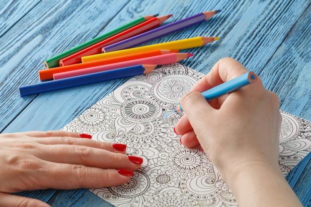 Livros para colorir adultos lápis de cor tendência anti-stress