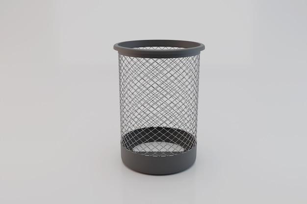 Lixeira de metal preto para papel; lixo vazio; ilustração 3d