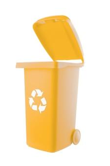 Lixeira de plástico amarela isolada no fundo branco